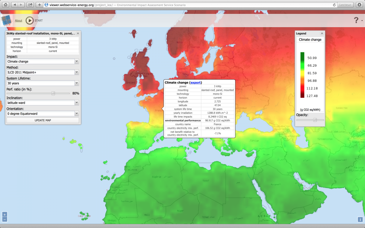 Environmental performance tool for PV systems